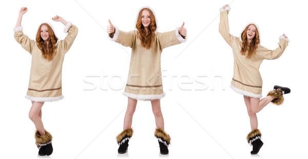 Eskimo girl  isolated on white Stock photo © Elnur