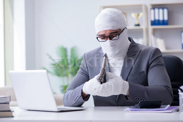 üzletember munkás dolgozik iroda számítógép férfi Stock fotó © Elnur