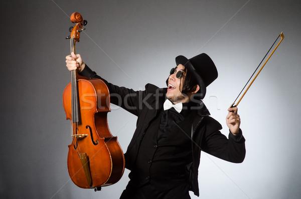 Férfi musical művészet szemüveg koncert hegedű Stock fotó © Elnur