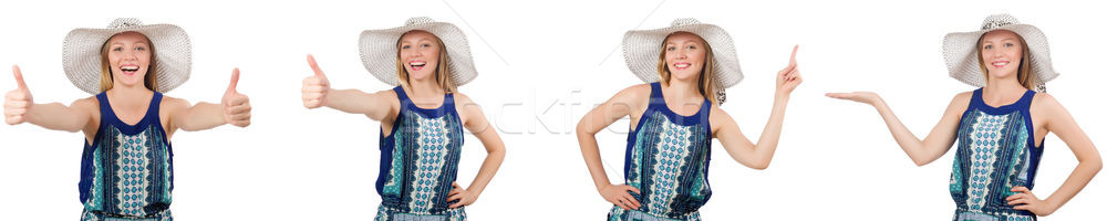 Kolaj kadın Panama şapka yalıtılmış beyaz Stok fotoğraf © Elnur