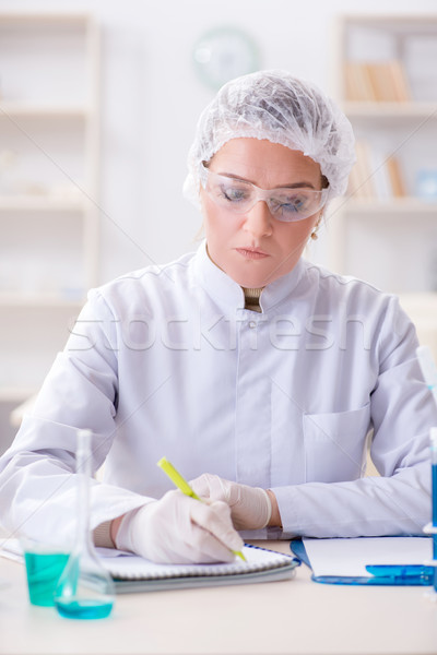 Woman chemist working in hospital clinic lab Stock photo © Elnur
