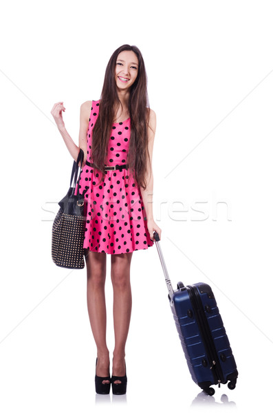 Stock photo: Young woman ready for summer vacation on white