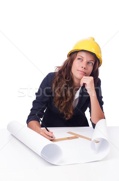 Nő építész rajzok fehér iroda épület Stock fotó © Elnur