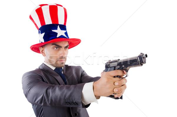Hombre arma americano sombrero seguridad empresario Foto stock © Elnur