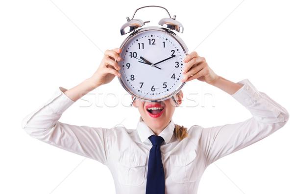 Foto stock: Mulher · empresária · gigante · relógio · escritório · trabalhar