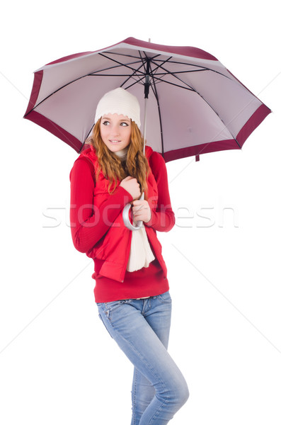 Young woman with umbrella on white Stock photo © Elnur