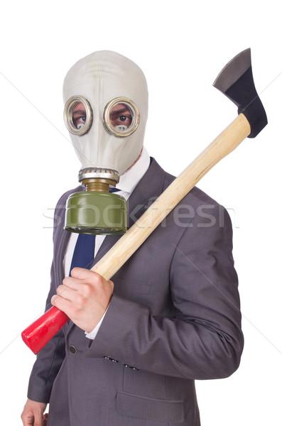 Stok fotoğraf: Işadamı · gaz · maskesi · yalıtılmış · beyaz · adam