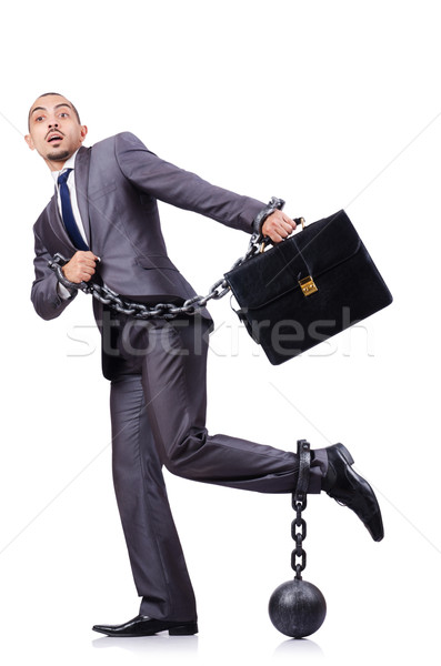 Businessman with shackles on white Stock photo © Elnur