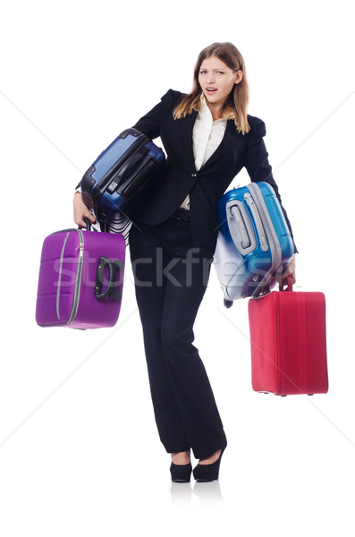 Businesswoman travelling isolated on white Stock fotó © Elnur