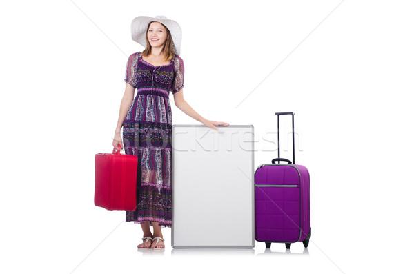 Nő Panama utazás bőröndök izolált fehér Stock fotó © Elnur