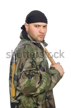 Vicces katona katonaság férfi háttér háború Stock fotó © Elnur