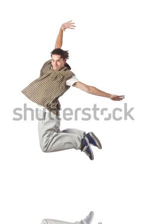 Człowiek taniec odizolowany biały człowiek biały strony Zdjęcia stock © Elnur