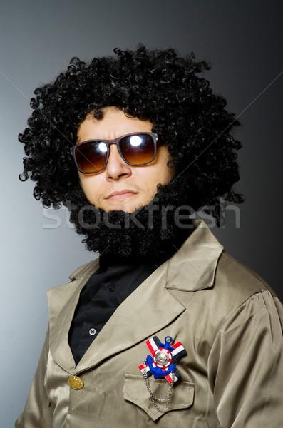 Komik asker askeri adam gözlük yeşil Stok fotoğraf © Elnur