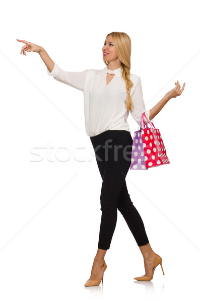 Woman after good christmas shopping isolated on white Stock photo © Elnur