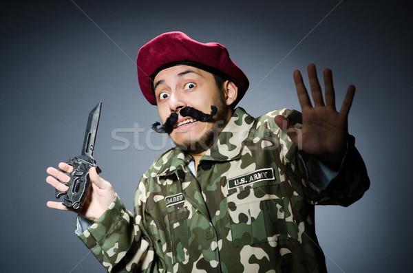 Divertente soldato buio uomo verde guerra Foto d'archivio © Elnur