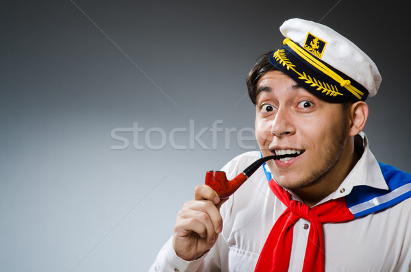 Foto stock: Engraçado · marinheiro · seis · sorrir · homem