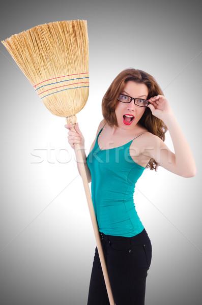 метлой белый женщину домой рабочих Сток-фото © Elnur