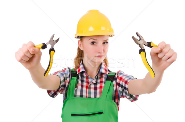 Construction worker female with pliers isolated on white Stock photo © Elnur