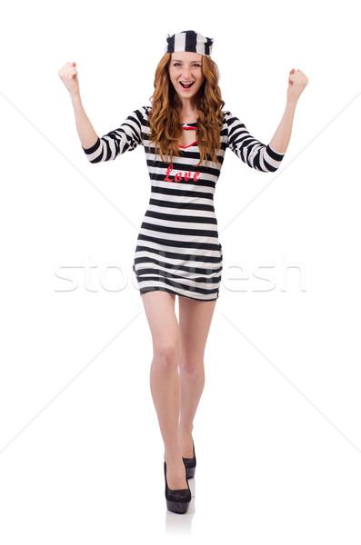 Joli fille prisonnier uniforme isolé blanche Photo stock © Elnur