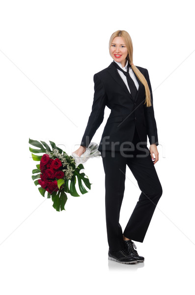 Woman with bunch of roses isolated on white Stock photo © Elnur