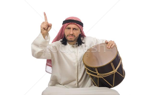 Stockfoto: Arab · man · spelen · trommel · geïsoleerd · witte