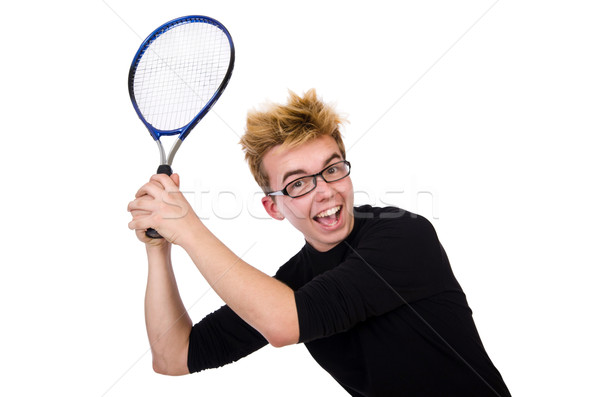 Funny tennis player isolated on white Stock photo © Elnur