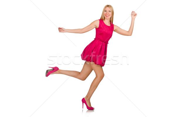 Foto stock: Mulher · jovem · rosa · vestir · isolado · branco · corrida