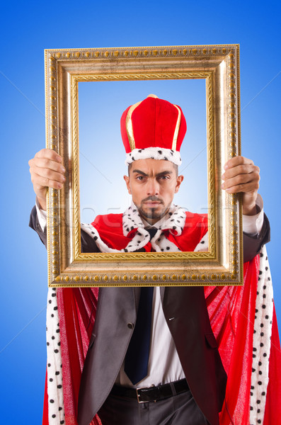 King with picture frame on white Stock photo © Elnur