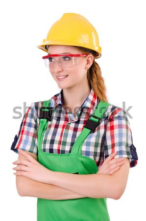 Stock photo: Female workman in green overalls isolated on white