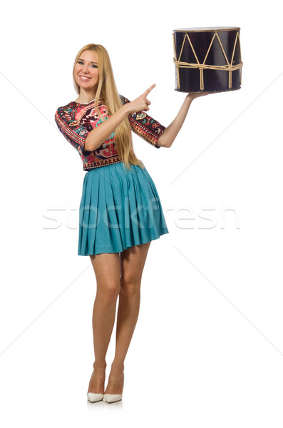 Stock photo: Woman with drum isolated on white