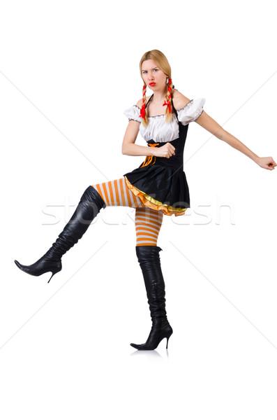 Stock fotó: Nő · jelmez · izolált · fehér · szexi · háttér
