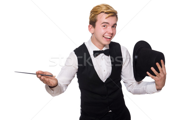 Magician with magic stick isolated on white Stock photo © Elnur