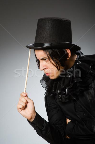 Komik büyücü silindir şapka kız Stok fotoğraf © Elnur