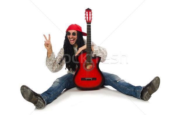 Mężczyzna muzyk gitara odizolowany biały człowiek Zdjęcia stock © Elnur