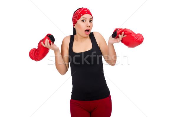 женщину Боксер изолированный белый улыбка спорт Сток-фото © Elnur