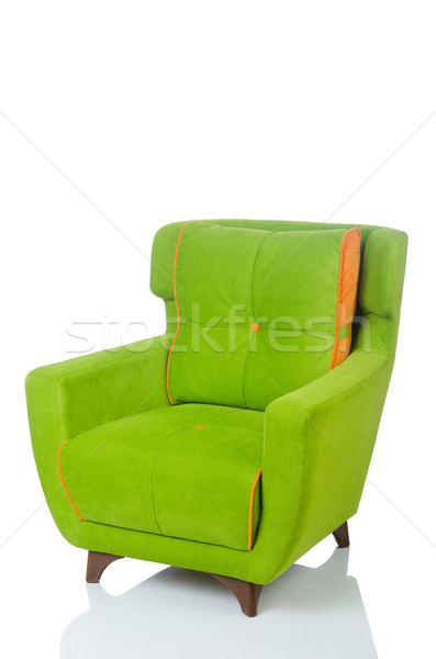 Stock photo: Green armchair isolated on the white