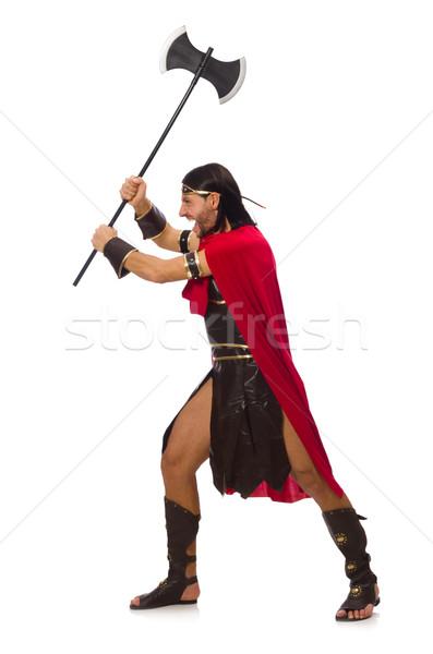 Gladiador isolado branco homem engraçado Foto stock © Elnur
