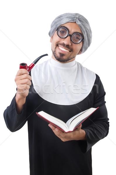 Człowiek zakonnica kostium odizolowany biały człowiek Zdjęcia stock © Elnur