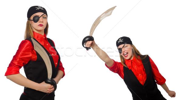 Vrouw piraat witte partij Stockfoto © Elnur