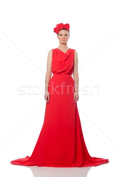 Csinos kaukázusi modell piros hosszú estélyi ruha Stock fotó © Elnur