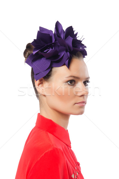 Pretty model with purple head accessory isolated on white Stock photo © Elnur