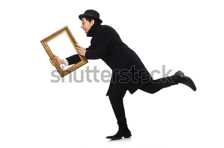 Aggressive man with gun isolated on white Stock photo © Elnur