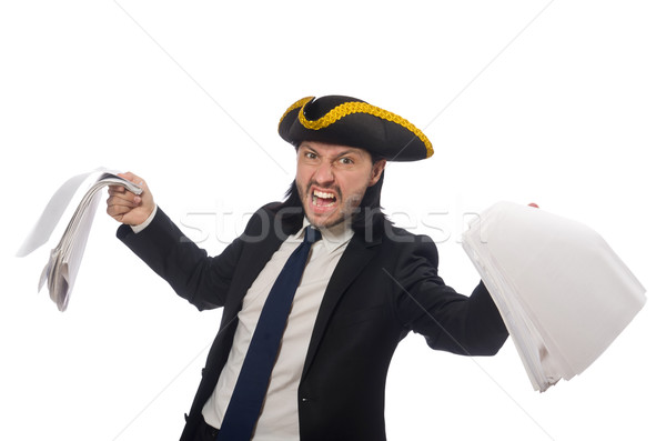Stock photo: Pirate businessman holding papers isolated on white