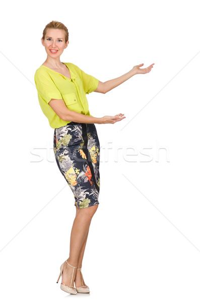 Lang model Geel blouse geïsoleerd witte Stockfoto © Elnur