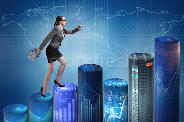 The businesswoman rushing with clock on bar charts Stock photo © Elnur