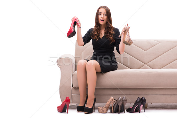 Donna difficile scelta scarpe casa sorriso Foto d'archivio © Elnur