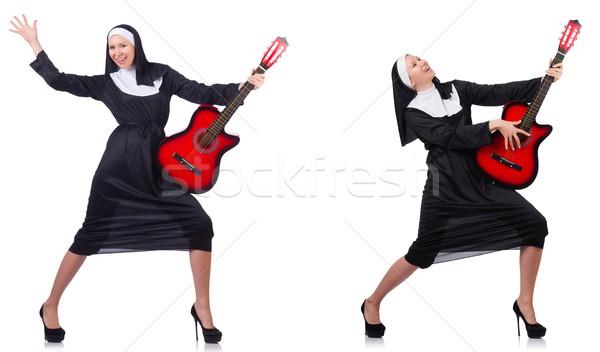 Suora chitarra isolato bianco musica party Foto d'archivio © Elnur