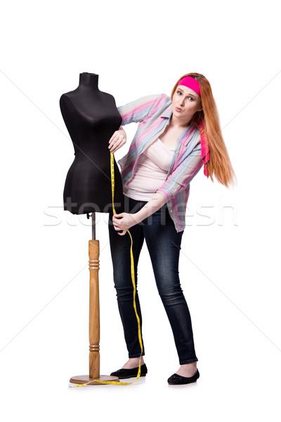 Stock fotó: Vicces · szabó · izolált · fehér · nő · divat