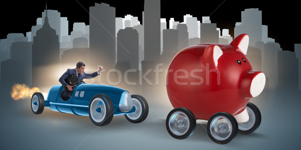The man chasing piggybank in business concept Stock photo © Elnur