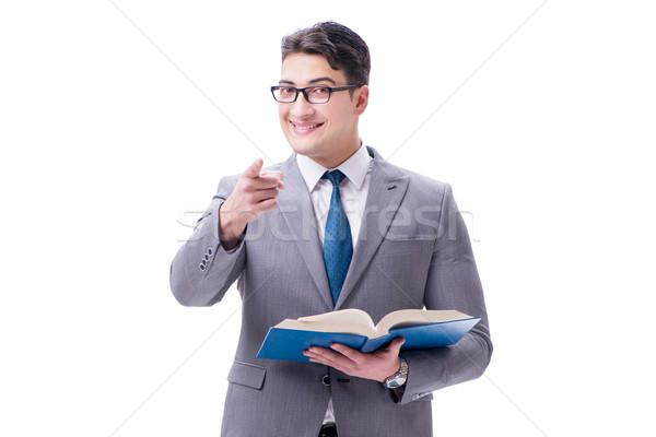 Foto stock: Empresario · estudiante · lectura · libro · aislado · blanco
